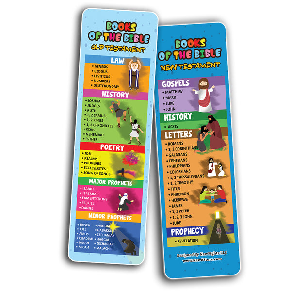 Books Of The Bible Bookmarks for Kids (60-Pack) - Church Memory Verse Sunday School Rewards - Christian Stocking Stuffers Birthday Party Favors Assorted Bulk Pack