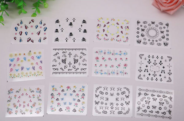New8Beauty Nail Art Stickers Decals Series 7 (50-Pack) - 3D Assorted