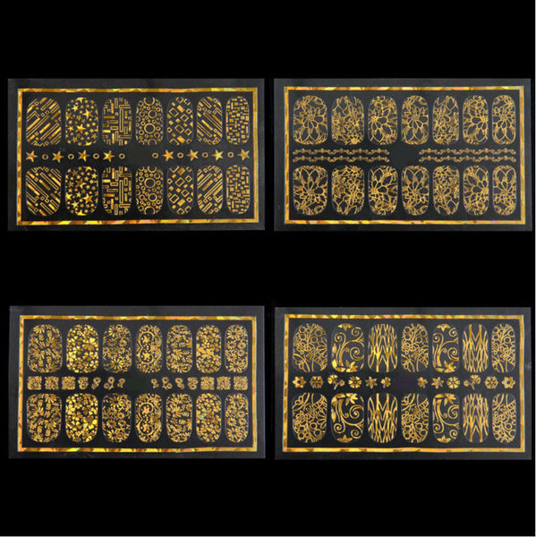 New8Beauty Nail Art Stickers Decals Series 9A (8-Pack) - 3D Metalic Gold Color