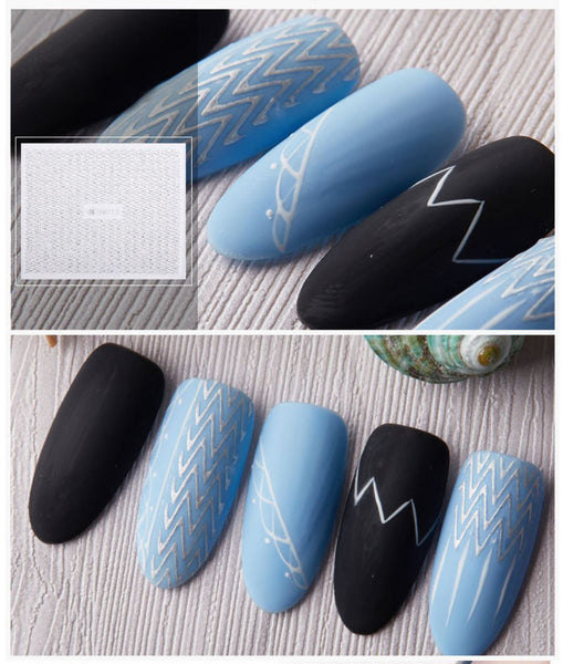 New8Beauty Nail Art Stickers Decals Series 10 (12-Pack) - 3D Laser Silver Lace