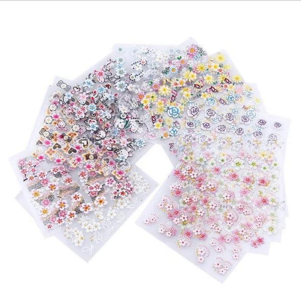 New8Beauty Nail Art Stickers Decals Series 13 (30-Pack) - 3D Flowers