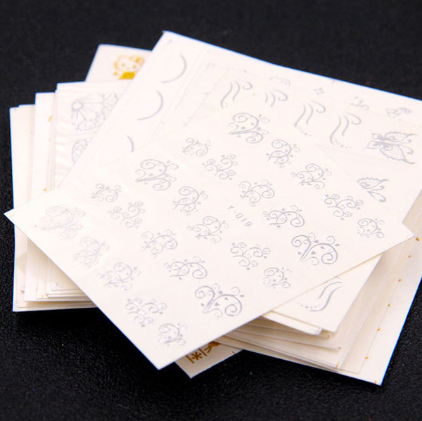 New8Beauty Nail Art Stickers Decals Series 17 (30-Pack) - Gold Silver Foil Stamps
