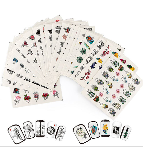 New8Beauty Nail Art Stickers Decals Series 18B (24-Pack) - Assorted Colors Patterns