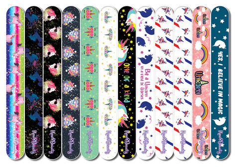 New8Beauty Emery Boards for Nails - Unicorn (12-Pack) - For Girls Teens Ladies Moms Working Women Wife Girlfriend Her