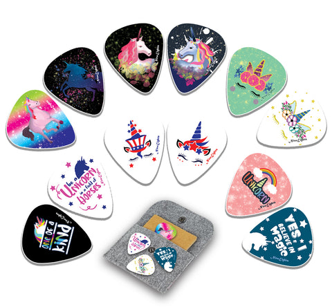 NewEights Acoustic Guitar Picks - Unicorn Plectrum Series 2 (12-Pack) - Stocking Stuffers for Girls - Birthday Party Favors Assorted Bulk Pack Thanksgiving Christmas Rewards Encouragement Gift
