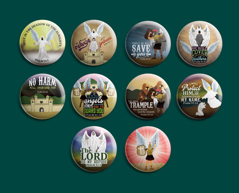 Christian Pinback Buttons - Psalm 91 (10-Pack)