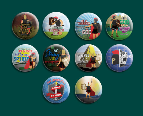 Christian Pinback Buttons - Armor of God (10-Pack)
