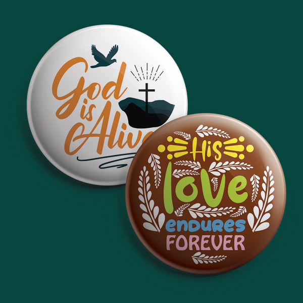 Christian Pinback Buttons - Faith Hope Love (10-Pack)