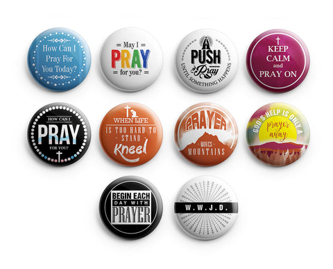 "Religious Pinback Buttons - Pray (10-Pack) - Large 2.25"" VBS Sunday School Easter Baptism Thanksgiving Christmas Rewards Encouragement Gift"