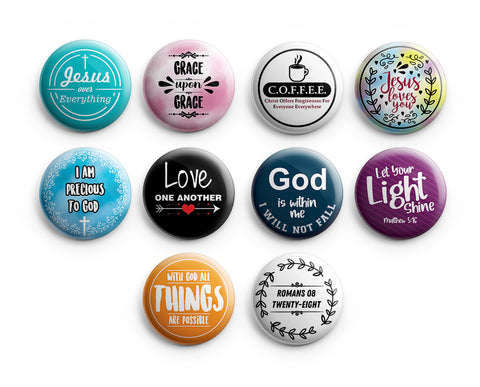 "Religious Pinback Buttons - Jesus (10-Pack) - Large 2.25"" VBS Sunday School Easter Baptism Thanksgiving Christmas Rewards Encouragement Gift"