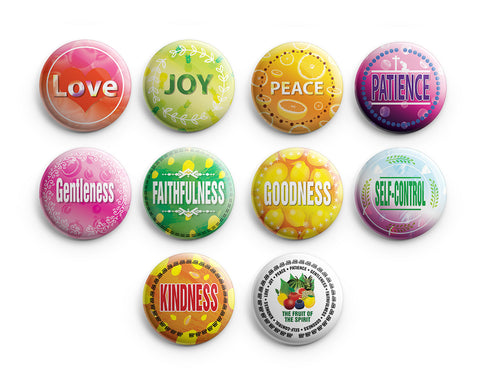 "Christian Pinback Buttons - The Fruit of the Spirit (10-Pack) - Large 2.25"" VBS Sunday School Easter Baptism Thanksgiving Christmas Rewards Encouragement Gift"