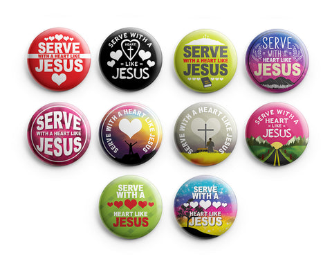 "Christian Pinback Buttons - Serve with a Heart Like Jesus (10-Pack) - Large 2.25"" VBS Sunday School Easter Baptism Thanksgiving Christmas Rewards Encouragement Gift"