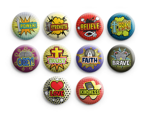 "Christian Pinback Buttons - Faith Super Power Badge (10-Pack) - Large 2.25"" VBS Sunday School Easter Baptism Thanksgiving Christmas Rewards Encouragement Gift"