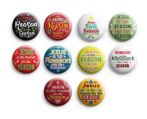 "NewEights Christian Pinback Buttons - Jesus is the Reason (10-Pack) - Large 2.25"" VBS Sunday School Easter Baptism Thanksgiving Christmas Rewards Encouragement Gift"