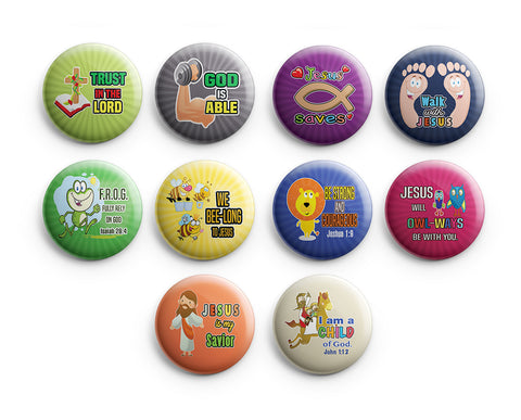 "Christian Pinback Buttons - Smile, God Loves You (10-Pack) - Large 2.25"" VBS Sunday School Easter Baptism Thanksgiving Christmas Rewards Encouragement Gift"