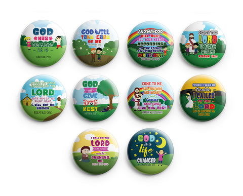 "Christian Pinback Buttons for Kids - Jesus Bible Verses (10-Pack) - Large 2.25"" VBS Sunday School Easter Baptism Thanksgiving Christmas Rewards Encouragement Gift"