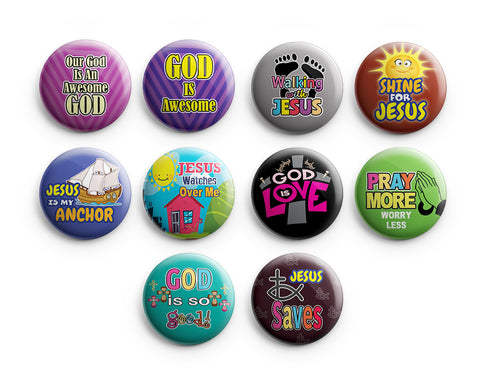 "Christian Pinback Buttons for Kids - Awesome God (10-Pack) - Large 2.25"" VBS Sunday School Easter Baptism Thanksgiving Christmas Rewards Encouragement Gift"