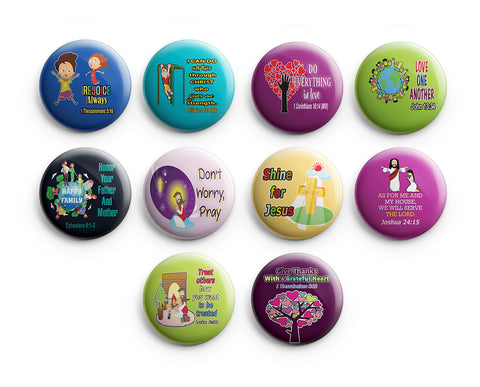 "Christian Pinback Buttons for Kids - Character Building (10-Pack) - Large 2.25"" VBS Sunday School Easter Baptism Thanksgiving Christmas Rewards Encouragement Gift"