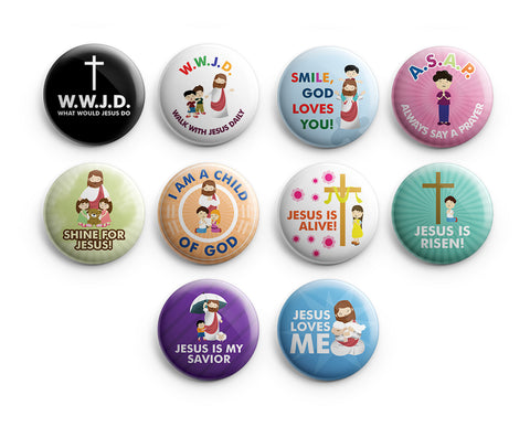 "Christian Pinback Buttons for Kids - WWJD (10-Pack) - Large 2.25"" VBS Sunday School Easter Baptism Thanksgiving Christmas Rewards Encouragement Gift"