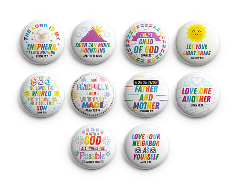 "Christian Pinback Buttons for Kids - Colorful Inspirational (10-Pack) - Large 2.25"" VBS Sunday School Easter Baptism Thanksgiving Christmas Rewards Encouragement Gift"