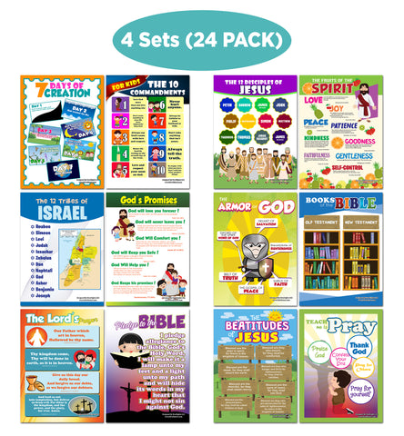 NewEights Christian Bible Educational Learning Posters for Kids (24-Pack) – Unique Teaching Aid