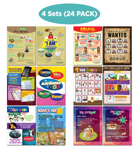 NewEights Bible Knowledge Series 1 Learning Posters (24-Pack) – Bible Poster for Boys Girls Kids