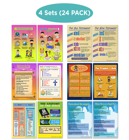 NewEights Bible Knowledge Series 4 Learning Posters (24-Pack) –  Educational Bulk Tool Savers Set