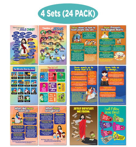 NewEights Bible Knowledge Series 6 Learning Posters (24-Pack) – Home Savers Bulk Buy Teaching Set