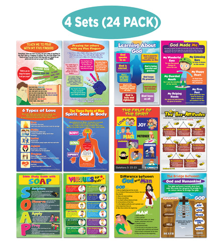 NewEights Bible Knowledge Series 7 Learning Posters (24-Pack) – Bulk Buy Savers Home Schooling Set