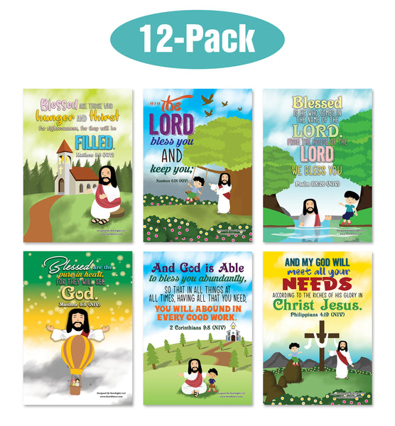 Christian God's Blessings Posters (12-Pack) - Inspirational Bible Verses Poster for Men Women Teens - A3 Size - Youth Ministry Sunday School Church Decor Home Decor