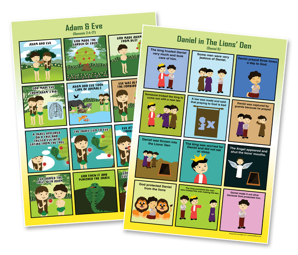 Bible Story Series 1 Educational Learning Posters (6-Pack)