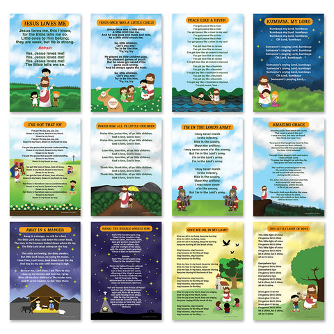 Popular Bible Songs Series 1 Educational Learning Posters (24-Pack) - A3 Size - Church Memory Verse Sunday School Rewards - Christian Stocking Stuffers Birthday Party - Classroom Decoration Motivation