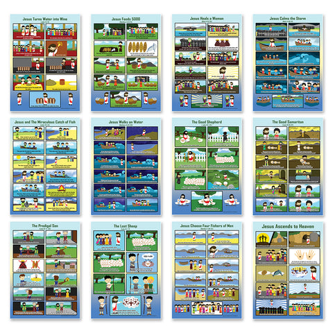 NewEights Bible Story Series 3 (Jesus Series) Educational Learning Posters (24-Pack) - Church Memory Verse Sunday School Rewards - Christian Stocking Stuffers Birthday Party Favors Assorted Bulk Pack