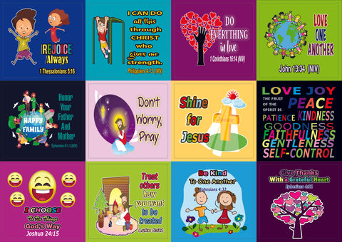 Christian Character Building Stickers - 20 Sheets