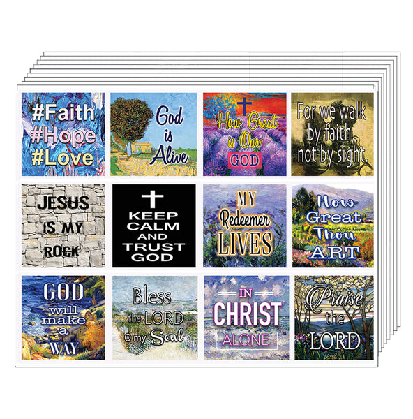 Christian Bible Verses Scriptures Planner Stickers - 5 Sheets