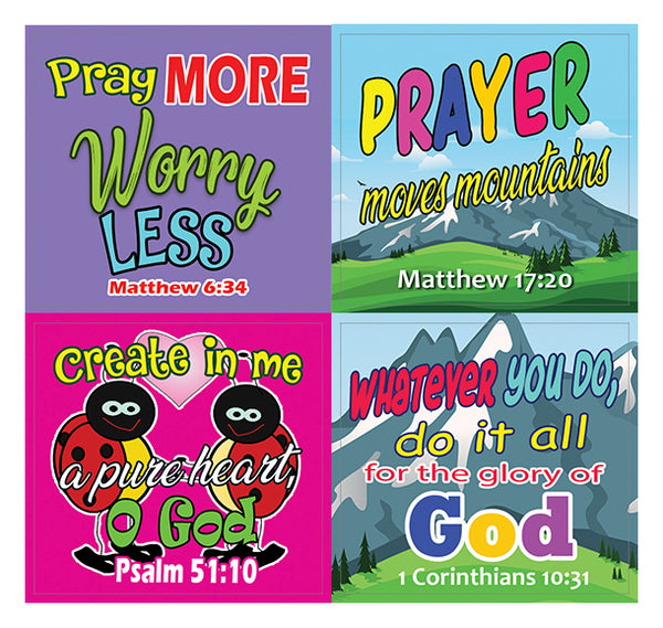 Easy Bible Scriptures for Kids Stickers (20-Sheet)