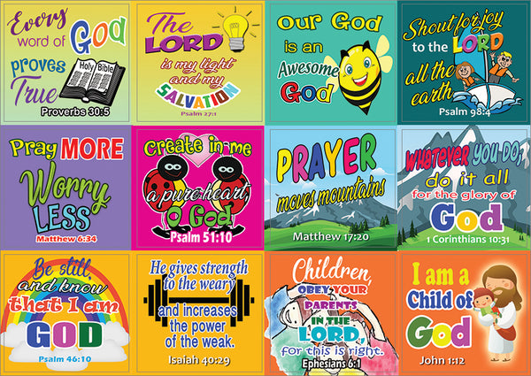Easy Bible Scriptures for Kids Stickers (5-Sheet)