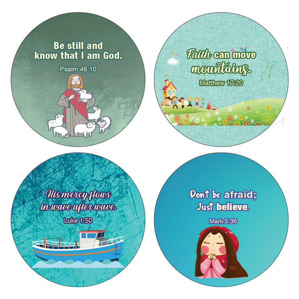 Religious Stickers for Kids (16 Round Shape) (20 Sheets) - Motivational Stickers