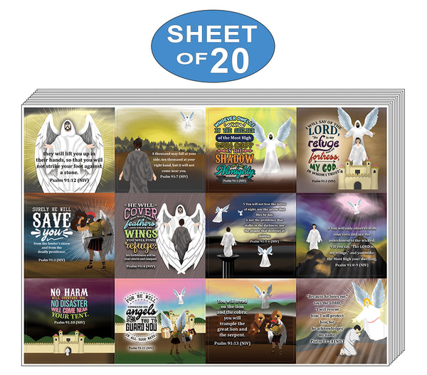 Psalm 91 Stickers (20-Sheet) - Church Memory Verse Sunday School Rewards - Christian Stocking Stuffers Birthday Party Favors Assorted Bulk Pack
