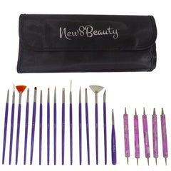 Nail Art Brushes, Dotting Pens Marbling Detailing Painting Tools 20pc Kit Set with Roll-Up Pouch - FREE eBook