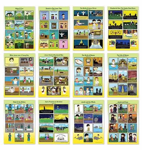 Bible Story Series 1 Educational Learning Posters (24-Pack)