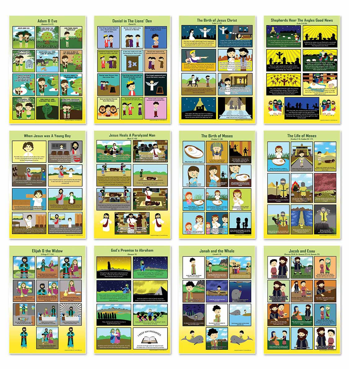 Bible Story Series 1 Educational Learning Posters (12-Pack)
