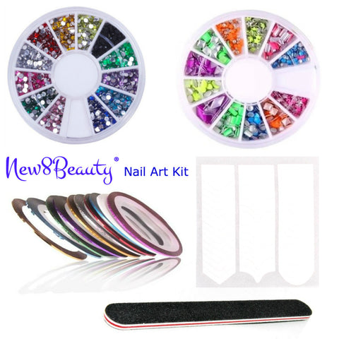 New8Beauty Nail Art Kit Set - 3D Rhinestones Colorful and Neon Wheels - Nail Striping Tape Strips - French Nail Tip Guides Stickers - Nail File Emery Board