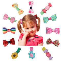 Charis Kid Baby and Toddler Hair Clips Barrettes Ribbon Bows Cute Colorful Pink Design