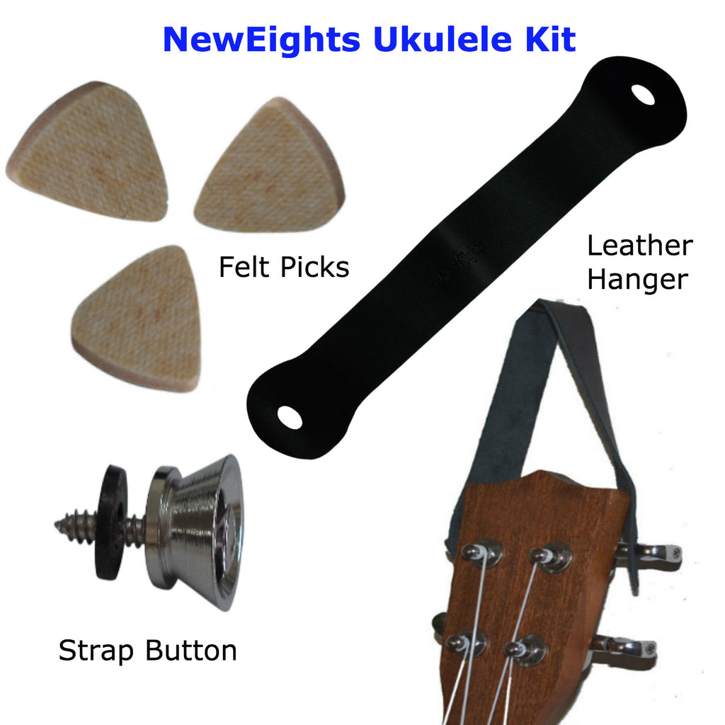 Ukulele Kit Felts Picks Uke Strap Button And Hanger Set