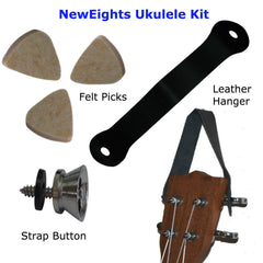 Ukulele Kit - Felts Picks, Uke Strap Button and Hanger Set Accessories Pack - Best Gifts for Ukulele Players by NewEights