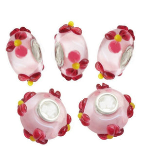 Lampwork Glass Beads 3D Flowers European Style