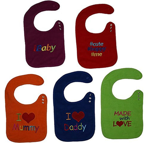 BEST Baby Fashion Bibs With Snaps Closure (5 Pack) Bibs 5-Pack Unisex Colors
