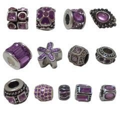Romantic Purple Rhinestones N8 European Style Beads Charms for Bracelet Necklace Fit Pandora