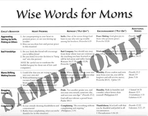 Wise Words for Moms Sample Page